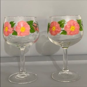 Franciscan Glassware Goblet Desert Rose Set of 2